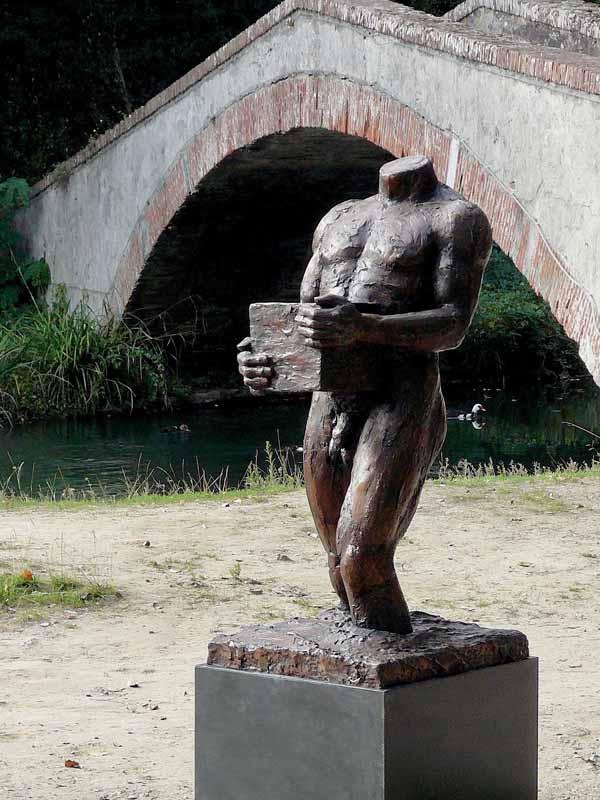 Against the Stream 3, bronze outdoor sculpture, Doug Holtquist
